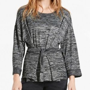Lucky Brand Marled Grey Gray Tie Up Sweater